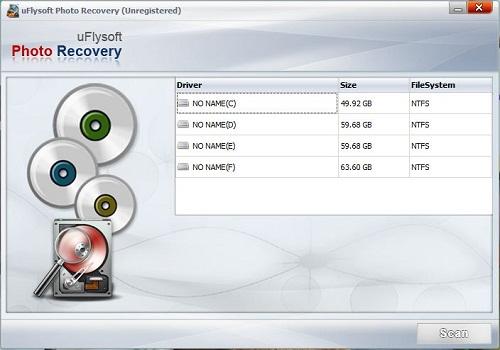 uFlysoft Photo Recovery screenshot: photo recovery,recover photos, recover deleted photos, recover lost photos, recover deleted pictures